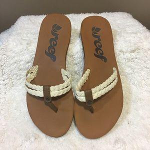 Reef braided rope flip-flop thong sandals.